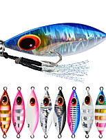cheap -1 pcs Fishing Lures Spoons Metal Bait Jig Head Night Glowing with Feather Bass Trout Pike Lure Fishing