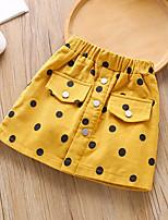 cheap -Kids Girls' Skirt Polka Dot Yellow Light Brown Basic 2-8 Years