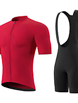 cheap -Men's Short Sleeve Cycling Jersey with Bib Shorts Summer Spandex Red Solid Color Bike Quick Dry Breathable Sports Solid Color Mountain Bike MTB Road Bike Cycling Clothing Apparel / Stretchy