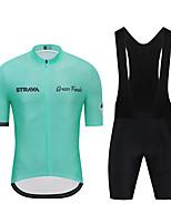 cheap -CAWANFLY Men's Short Sleeve Cycling Jersey with Shorts Cycling Pants Spandex Green / Black Bike Sports Geometic Mountain Bike MTB Road Bike Cycling Clothing Apparel / Micro-elastic / Athleisure