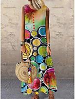 cheap -Women's Shift Dress Maxi long Dress Red Sleeveless Print Color Block Print Spring Summer Round Neck Casual 2021 S M L XL XXL 3XL