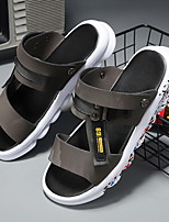 cheap -Men's Sandals Beach Daily Nappa Leather Breathable Non-slipping Wear Proof Black Blue Gray Summer