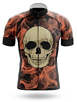 cheap -21Grams Men's Short Sleeve Cycling Jersey Summer Spandex Polyester Red Sugar Skull Skull Bike Jersey Top Mountain Bike MTB Road Bike Cycling Quick Dry Moisture Wicking Breathable Sports Clothing