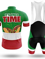 cheap -Men's Short Sleeve Cycling Jersey with Bib Shorts Winter Summer Spandex Green Animal Bike Quick Dry Breathable Sports Letter & Number Mountain Bike MTB Road Bike Cycling Clothing Apparel / Stretchy
