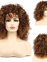 cheap -beweig short brown afro wigs for black women fluffy curly kinky synthetic heat resistant halloween costume party wig with bangs