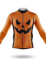 cheap -21Grams Men's Long Sleeve Cycling Jersey Spandex Polyester Orange Bike Jersey Top Mountain Bike MTB Road Bike Cycling Quick Dry Moisture Wicking Breathable Sports Clothing Apparel / Athleisure