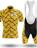 cheap -Men's Short Sleeve Cycling Jersey with Bib Shorts Winter Summer Spandex Black / Yellow Fruit Bike Quick Dry Breathable Sports Fruit Mountain Bike MTB Road Bike Cycling Clothing Apparel / Stretchy