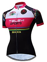 cheap -21Grams Women's Short Sleeve Cycling Jersey Summer Spandex Polyester Black / Red Bike Jersey Top Mountain Bike MTB Road Bike Cycling Quick Dry Moisture Wicking Breathable Sports Clothing Apparel
