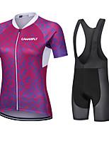 cheap -CAWANFLY Women's Short Sleeve Cycling Jersey with Bib Shorts Cycling Bib Shorts Summer Red Bike Quick Dry Sports Mountain Bike MTB Road Bike Cycling Clothing Apparel