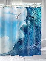 cheap -The Waves Digital Printing Shower Curtain Shower Curtains  Hooks Modern Polyester New Design