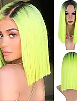 cheap -suri hair fluorescent green short bob wigs for women ombre light green straight synthetic wig dark roots high temperature fiber shoulder length female halloween cosplay party wig 14inch