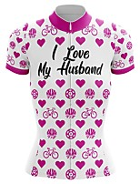 cheap -21Grams Women's Short Sleeve Cycling Jersey Summer Spandex Polyester White Heart Bike Jersey Top Mountain Bike MTB Road Bike Cycling Quick Dry Moisture Wicking Breathable Sports Clothing Apparel