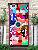 cheap -2pcs Self-adhesive Creative Cartoon Pattern Door Stickers For Living Room Diy Decorative Home Waterproof Wall Stickers