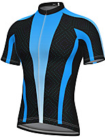 cheap -21Grams Men's Short Sleeve Cycling Jersey Summer Spandex Polyester Blue Patchwork Bike Jersey Top Mountain Bike MTB Road Bike Cycling Quick Dry Moisture Wicking Breathable Sports Clothing Apparel