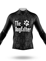 cheap -21Grams Men's Long Sleeve Cycling Jersey Spandex Polyester Black Dog Bike Jersey Top Mountain Bike MTB Road Bike Cycling Quick Dry Moisture Wicking Breathable Sports Clothing Apparel / Athleisure