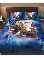 cheap -3D Digital Eagle and American Flag Print 3-Piece Duvet Cover Set Hotel Bedding Sets Soft, Include 1 Duvet Cover, 2 Pillowcases for Double/Queen/King(1 Pillowcase for Twin/Single)