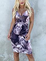 cheap -Women's Strap Dress Knee Length Dress Blue Purple Red Fuchsia Sleeveless Print Color Block Patchwork Print Fall Summer cold shoulder Casual 2021 S M L XL XXL