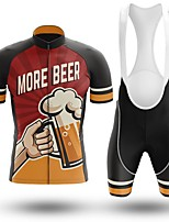 cheap -Men's Short Sleeve Cycling Jersey with Bib Shorts Winter Summer Spandex Burgundy Bike Quick Dry Breathable Sports Graphic Mountain Bike MTB Road Bike Cycling Clothing Apparel / Stretchy / Athletic