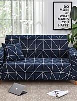 cheap -Navy Grid Geometric Print Dustproof All-powerful Slipcovers Stretch Sofa Cover Super Soft Fabric Couch Cover with One Free Boster Case(Chair/Love Seat/3 Seats/4 Seats)