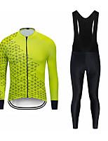 cheap -CAWANFLY Men's Long Sleeve Cycling Jersey with Tights Cycling Pants Cycling Bib Tights Spandex Green / Yellow Black / Yellow Black Bike Breathable Sports Geometic Mountain Bike MTB Road Bike Cycling