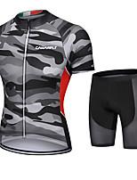 cheap -CAWANFLY Men's Short Sleeve Cycling Padded Shorts Cycling Jersey with Shorts Cycling Shorts Summer Jacinth +Gray Bike Shorts Quick Dry Sports Mountain Bike MTB Road Bike Cycling Clothing Apparel