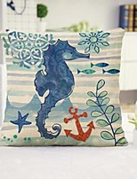 cheap -Blue Sea Horse Double Side Cushion Cover 1PC Soft Decorative Square  Pillowcase for Sofa bedroom Car Chair Superior Quality Outdoor Cushion Patio Throw Pillow Covers for Garden Farmhouse Bench Couch