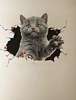 cheap -3D Broken Wall Cute Cat Cartoon Home Background Decoration Removes Sticker