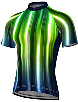 cheap -21Grams Men's Short Sleeve Cycling Jersey Summer Spandex Polyester Green Stripes Fluorescent Bike Jersey Top Mountain Bike MTB Road Bike Cycling Quick Dry Moisture Wicking Breathable Sports Clothing