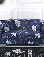 cheap -Blue Floral Print Dustproof All-powerful Slipcovers Stretch Sofa Cover Super Soft Fabric Couch Cover with One Free Boster Case(Chair/Love Seat/3 Seats/4 Seats)