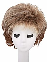 cheap -hozz natural short curly wig old lady synthetic wigs for women grey ombre copper brown