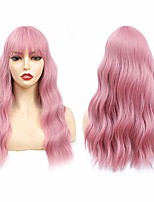 cheap -pink wigs for women, wig with bangs, medium long wavy curly wig (18'' light pink)