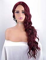 cheap -fraysmi long wavy wig silky full heat resistant synthetic wig for women hair replacement wig for party cosplay body wavy (wine red)