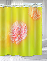 cheap -Pink Flowers Digital Printing Shower Curtain Shower Curtains Hooks Modern Polyester New Design