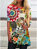 cheap -Women's T Shirt Dress Tee Dress Short Mini Dress Yellow Half Sleeve Floral Print Print Spring Summer Round Neck Casual 2021 S M L XL XXL 3XL