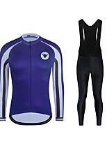 cheap -CAWANFLY Men's Long Sleeve Cycling Jersey with Tights Cycling Pants Cycling Bib Tights Spandex Purple Bike Sports Geometic Mountain Bike MTB Road Bike Cycling Clothing Apparel / Micro-elastic