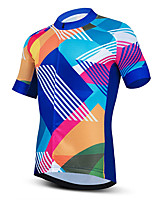cheap -21Grams Men's Short Sleeve Cycling Jersey Summer Spandex Polyester Blue Stripes Bike Jersey Top Mountain Bike MTB Road Bike Cycling Quick Dry Moisture Wicking Breathable Sports Clothing Apparel