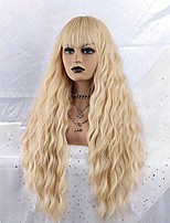 cheap -morica blond curly wig for women long curly wavy wig with bangs 613 blonde wig long blonde curly wig middle part golden blonde fluffy synthetic blonde wig heat resistant hair party curly wigs 26 inch.