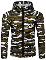 cheap -Men's Hiking Jacket Hoodie Jacket Hiking Windbreaker Autumn / Fall Winter Spring Outdoor Camo / Camouflage Quick Dry Lightweight Breathable Sweat wicking Jacket Top Hunting Fishing Climbing Army