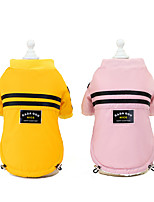 cheap -Dog Cat Dog clothes Stripes Solid Colored Stripes Dailywear Casual / Daily Winter Dog Clothes Puppy Clothes Dog Outfits Warm Yellow Pink Costume for Girl and Boy Dog Padded Fabric Polyester S M L XL