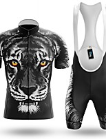 cheap -Men's Short Sleeve Cycling Jersey with Bib Shorts Winter Summer Spandex Black Tiger Bike Quick Dry Breathable Sports Tiger Mountain Bike MTB Road Bike Cycling Clothing Apparel / Stretchy / Athletic