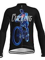 cheap -21Grams Men's Long Sleeve Cycling Jersey Spandex Polyester Black Bike Jersey Top Mountain Bike MTB Road Bike Cycling Quick Dry Moisture Wicking Breathable Sports Clothing Apparel / Athleisure