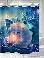 cheap -Beautiful Cat Digital Printing Shower Curtain Shower Curtains  Hooks Modern Polyester New Design
