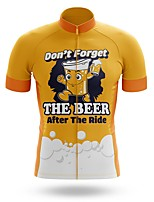 cheap -21Grams Men's Short Sleeve Cycling Jersey Summer Spandex Polyester Yellow Oktoberfest Beer Bike Jersey Top Mountain Bike MTB Road Bike Cycling Quick Dry Moisture Wicking Breathable Sports Clothing