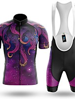cheap -Men's Short Sleeve Cycling Jersey with Bib Shorts Winter Summer Spandex Purple Bike Quick Dry Breathable Sports Graphic Mountain Bike MTB Road Bike Cycling Clothing Apparel / Stretchy / Athletic
