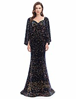 cheap -Mermaid / Trumpet Sparkle Formal Evening Dress Sweetheart Neckline Long Sleeve Court Train Sequined Velvet with Sequin 2021