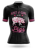 cheap -21Grams Women's Short Sleeve Cycling Jersey Summer Spandex Polyester Black Animal Bike Jersey Top Mountain Bike MTB Road Bike Cycling Quick Dry Moisture Wicking Breathable Sports Clothing Apparel
