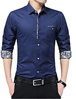 cheap -Men's Shirt Other Prints Graphic Long Sleeve Casual Tops Basic Casual White Black Red