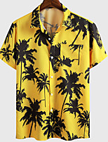 cheap -Men's Shirt Graphic Prints Coconut Tree Button-Down Short Sleeve Casual Tops Basic Fashion Tropical Breathable Yellow