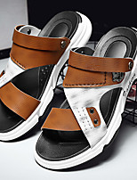 cheap -Men's Sandals Beach Daily Nappa Leather Breathable Non-slipping Wear Proof White / Silver Brown Summer