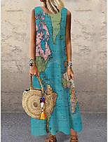 cheap -Women's Shift Dress Maxi long Dress Blue Sleeveless Print Map Print Spring Summer Round Neck Casual Holiday 2021 S M L XL XXL 3XL
